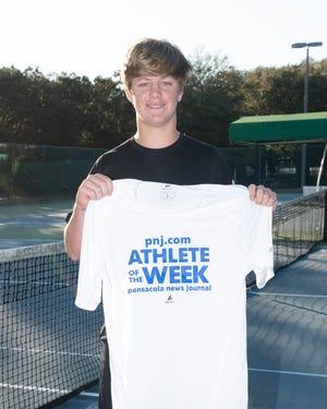 Athlete of the Week - Justin Lyons - Pensacola Catholic High School boys tennis player.  Feb. 27, 2020.