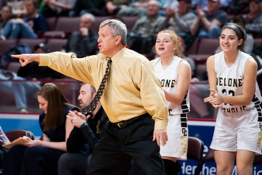 Delone Catholic head coach Gerry Eckenrode directs the Squirettes during the District 3 Class 3A championship game against Trinity at the Giant Center in Hershey on Thursday, Feb. 27, 2020. The Squirettes won, 44-22.
