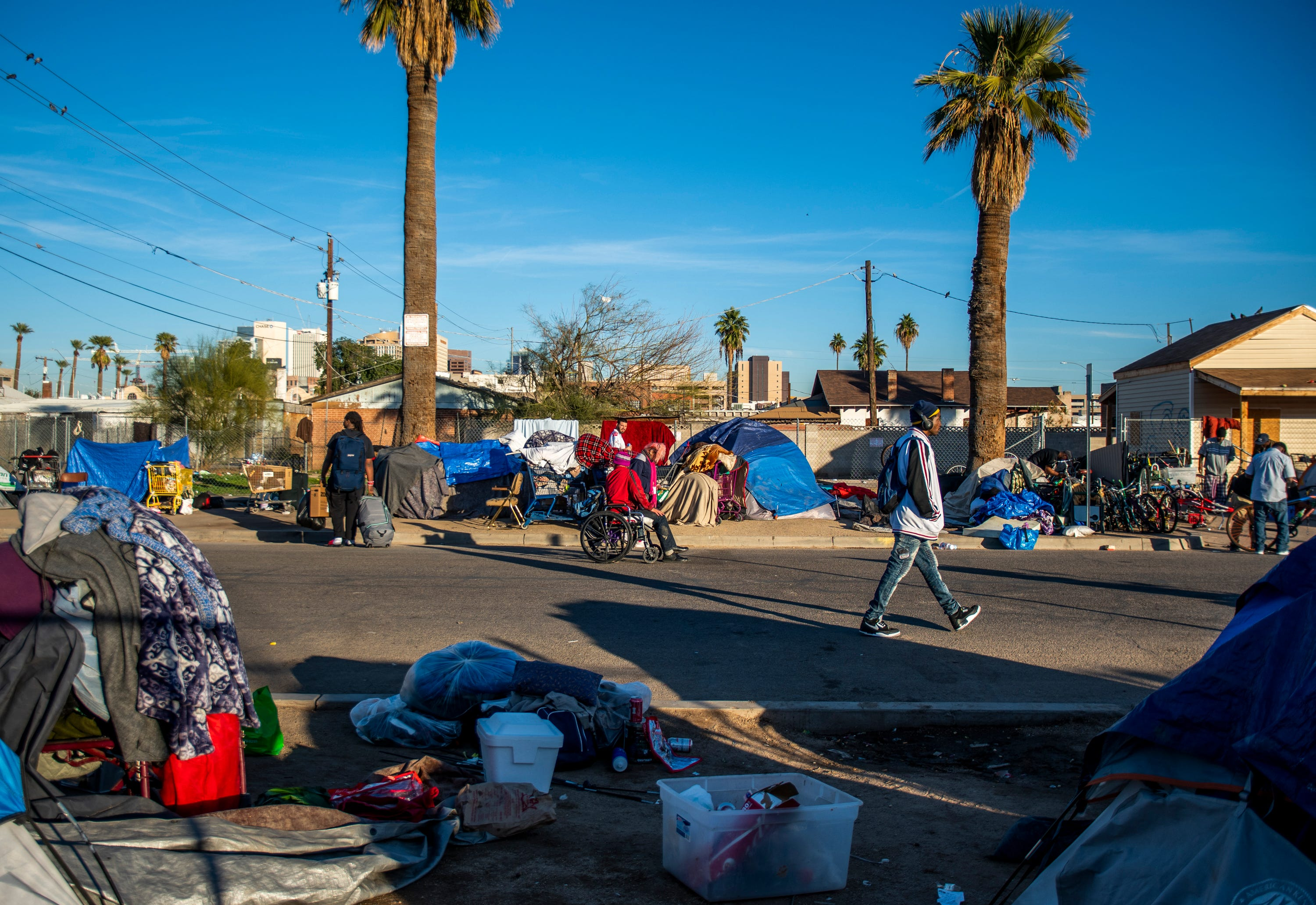 Dozens of tents are seen on the outskirts of downtown Phoenix on Jan. 3, 2020.