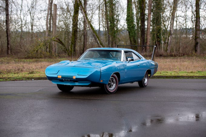 The 1969 Dodge Daytona is an automatic transmission vehicle with a 440 cubic-inch V-8 engine.
