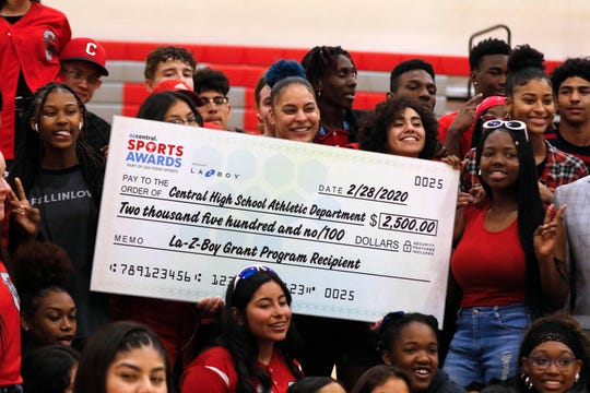 Students at Central High School were on hand during a pep rally Friday, Feb. 28, 2020, for  presentation of a $2,500 check from La-Z-Boy for the school's athletic department. The company's grant program is part of its sponsorship of the azcentral Sports Awards program.