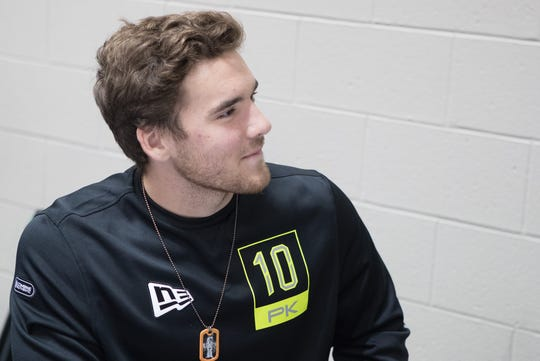 Arizona State place kicker Michael Turk speaks to the media during the 2020 NFL Combine in the Indianapolis Convention Center.