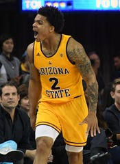 Feb 27, 2020; Los Angeles, California, USA; Arizona State Sun Devils guard Rob Edwards (2) reacts after a basket against the UCLA Bruins in the second half at Pauley Pavilion. Mandatory Credit: Richard Mackson-USA TODAY Sports