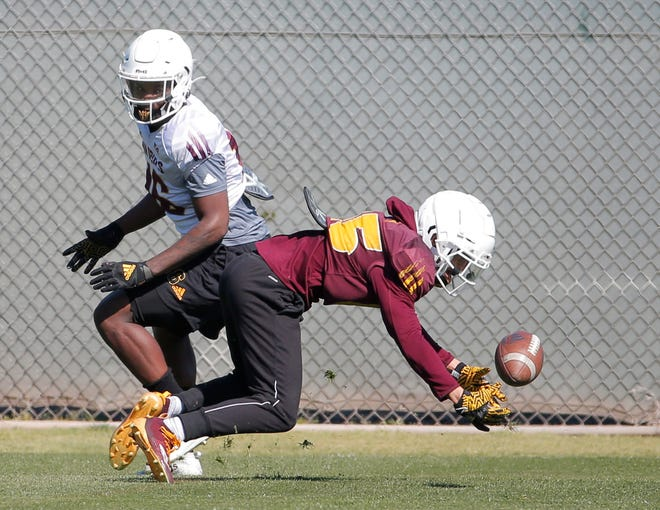 ASU wide receiver Brandon Pierce, (85), reaches for a ball during spring football practice at Kajikawa Practice Facility in Tempe on February 27, 2020.