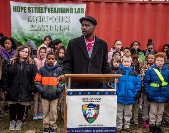 Lincoln Charter School president and CEO Leonard Hart speaks at the announcement of a new aquaponics classroom for Hope Street Learning Lab in February. Lincoln Charter School is a founding partner of the learning lab, and its students often use the facility. The addition to the York City community learning center will involve soil-less hydroponic and aquaponic growing techniques in two shipping containers. The classroom is slated to be open this July.