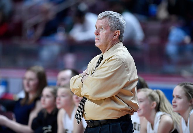 Delone Catholic girls' basketball coach Gerry Eckenrode vs Trinity in the District 3 Class 3-A girls's basketball final, Thursday, February 27, 2020. John A. Pavoncello photo
