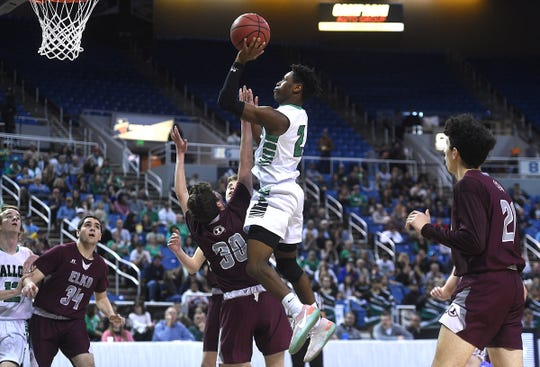 Fallon's Elijah Jackson shoots while taking on Elko duding their NIAA 3A Boys Basketball championship game at Lawlor Events Center in Reno on Feb. 28, 2020.