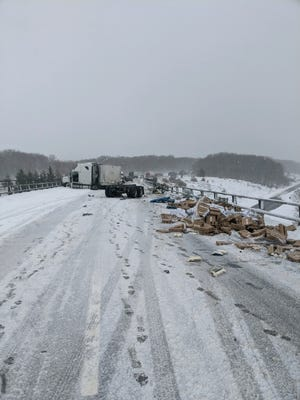 About 30,000 pounds of yogurt spilled onto Interstate 86 in western New York after a crash Feb. 27, 2020, State Police said.