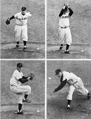 New York Giant left-hander Johnny Antonelli shown in this pitching sequence as he strikes out Cleveland shortstop George Strickland in the sixth inning of second World Series game at Polo Grounds in New York City, Sept. 30, 1954. Antonelli hurled a gritty eight-hitter, walking six and striking out nine as Giants won, 3-1, to lead series, 2-0.
