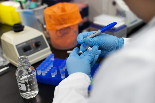 A researcher works in a lab that is developing testing for the COVID-19 coronavirus at Hackensack Meridian Health Center for Discovery and Innovation on February 28, 2020, in Nutley, New Jersey. The facility develops novel therapies for some of the world's most difficult diseases. At least 53 countries have reported cases of infection.