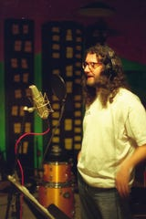 Gary Burford photographed recording music at Dead Aunt Thelma's Studio in Portland in 1988.