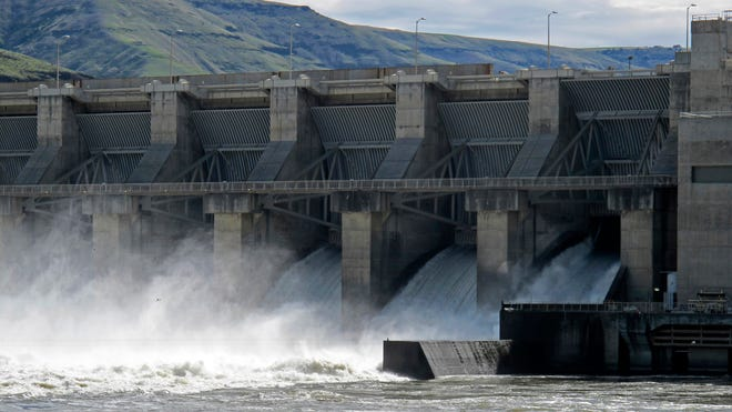 In this April 11, 2018 file photo, water moves through a spillway of the Lower Granite Dam on the Snake River near Almota, Wash.