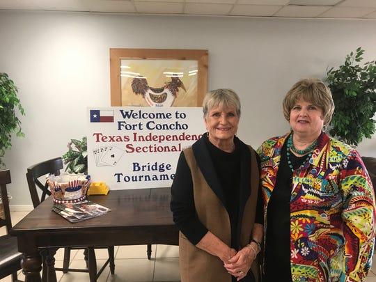 From left:  Norma Walker, leader of the Fort Concho Unit of the American Contract Bridge League is passing the torch to Joy Foster this year.