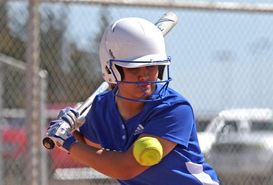 Clarissa Fernandez watches a high pitch go by at the plate for Lake View against Reagan County at the Concho Classic Softball Tournament on Friday, Feb. 28, 2020.