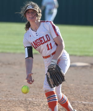 San Angelo Central High School's Ashton McMillan fires a pitch during a game against Seminole on Day 1 of the Concho Classic Tournament in San Angelo on Thursday, Feb. 27, 2020. The three-day tourney runs through Saturday.