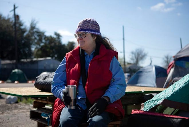 Susan Peake lives at the state-run homeless encampment off U.S. Highway 183 in Austin.