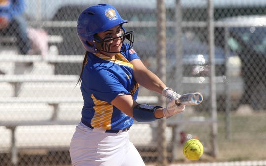 Yanai Balderas takes a swing at the plate for Reagan County during a game against Lake View at the Concho Classic Softball Tournament on Friday, Feb. 28, 2020.
