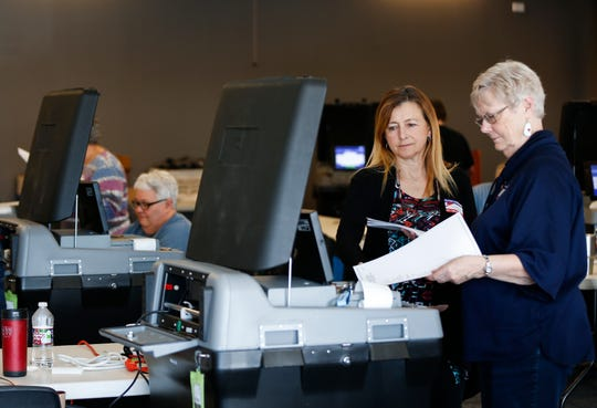Joan Gentry (right) and Caroline Bond insert test ballots into a voting machine to makes sure it is tabulating votes properly at the Greene County Elections Center on Friday, Feb. 28, 2020.