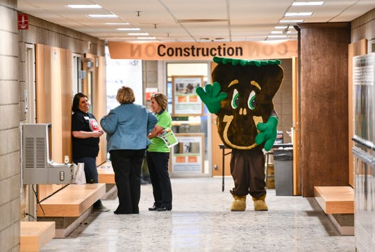 The Sammy the Soil mascot walks the halls during the EPIC 2020 event Friday, Feb. 28, 2020, at St. Cloud Technical and Community College in St. Cloud.