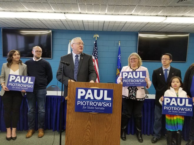 Paul Piotrowski, a former Stevens Point police officer and city clerk, announces Friday, Feb. 28, 2020, his intent to challenge state Sen. Patrick Testin, R-Stevens Point.