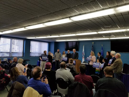 Friends, family and local Democrats pack into the community room of the Stevens Point Police Department late Friday afternoon to hear former officer Paul Piotrowski announce his candidacy for the 24th Senate District as a Democrat.