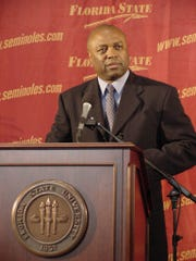 FSU basketball coach Leonard Hamilton at his introductory press conference in 2002.