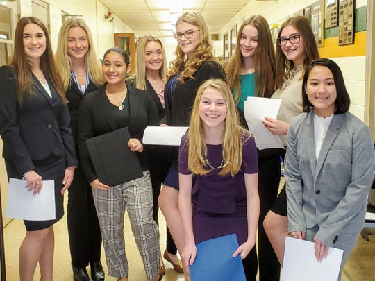 (From left) Maria Pia DiFranco of Bridgeton, Adrianna Dodge of Sewell, Layla Colon of Bridgeton, Caroline Bernhardt of Buena, Katherine Decker of East Greenwich, Rachel Foster of Clayton, Marielle Fortunato of Sewell, Adriana Fricano of Newfield and Chloe Abo of Egg Harbor Township, all juniors at Our Lady of Mercy Academy, gather for a quick photo prior to their first interviews on Mock Interview Day, part of a series of programs at the academy which help students prepare for college and beyond.