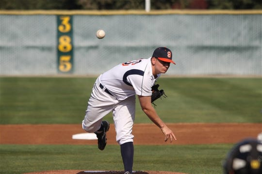 Giants' reliever Anthony Torres (Exeter) on the mound.
