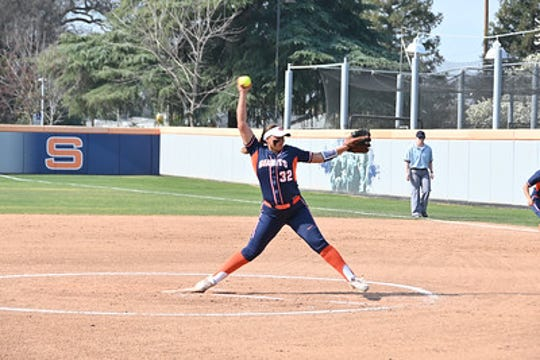 Olivia Aguigam  (8-6) threw 55 of her 84 pitches for strikes while walking two and striking out four in a victory over Merced.