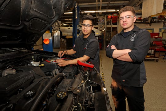 Rockland BOCES automotive technology students Luis Pinto-Samayoa, left, and Peter Moger at the shop Feb. 27, 2020 in West Nyack. The seniors, Pinto-Samayoa at Ramapo and Moger at Clarkstown South, recently took first place in the New York State Automotive Technology championships and will compete in the nationals in April 2020.