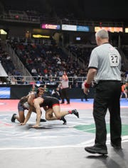 Quincy Downes of Fox Lane wins his 170-pound match during day 1 of the NYSPHSAA Wrestling Championships at Times-Union Center in Albany on Friday, February 28, 2020.