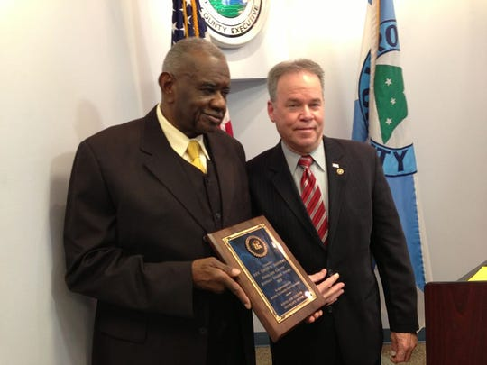 The Rev. Louis Sanders received the Buffalo Soldier Award from Rockland County Executive Ed Day.