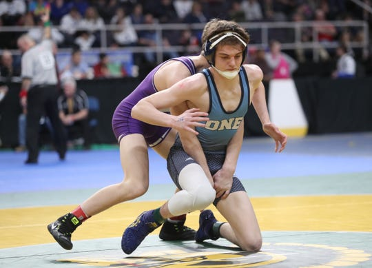 Our Lady of Lourdes' Riley McHale competes in a 138-pound semifinal match during day 1 of the NYSPHSAA Wrestling Championships at Times-Union Center in Albany on Friday, February 28, 2020.