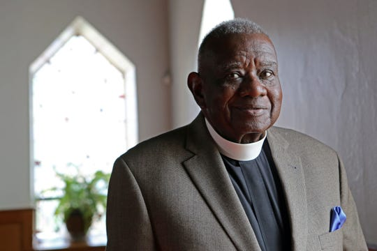Rev. Louis Sanders, who is retiring after 36 years as pastor of the St. Charles AME Zion Church, in the chapel April 11, 2017 in Sparkill.