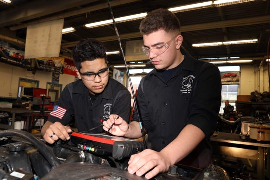 Rockland BOCES automotive technology students Luis Pinto-Samayoa, left, and Peter Moger test a car Feb. 27, 2020 in West Nyack. The seniors, Pinto-Samayoa at Ramapo and Moger at Clarkstown South, recently took first place in the New York State Automotive Technology championships and will compete in the nationals in April 2020.