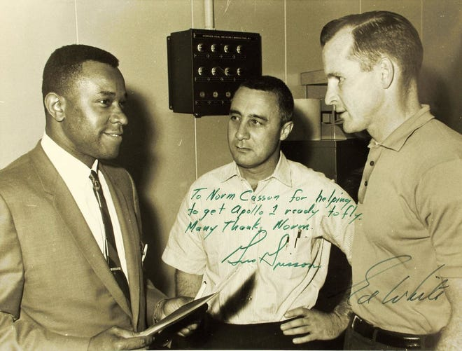 Norm Casson, left, with astronauts Gus Grisson and Ed White.