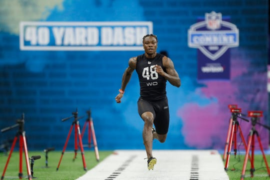 Alabama Crimson Tide wide receiver Henry Ruggs Iii (WO48) run the 40 yard dash during the 2020 NFL Combine at Lucas Oil Stadium.
