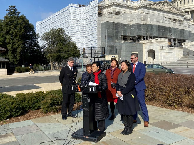 Reps. Judy Chu, Grace Meng, and Barbara Lee speak to reporters about xenophobia and the coronavirus response