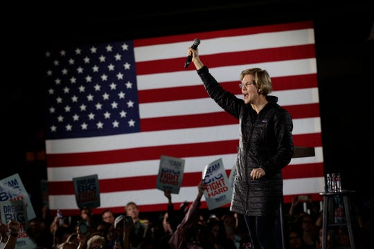 Democratic presidential candidate Sen. Elizabeth Warren, D-Mass., addresses supporters during a town hall in San Antonio Feb. 27, 2020.