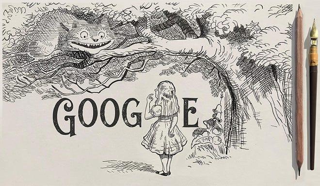 "Google celebrates Sir John Tenniel, the illustrator behind ""Alice's Adventures in Wonderland"" on his 200th birthday anniversary."