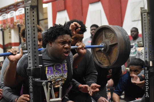 Alexandria Senior High senior Jacobian Guillory won the super heavyweight class at the Central Regional Powerlifting Championship was held Friday, Feb. 28 and and Saturday, Feb. 29 at Pineville High School.