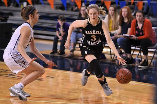 Haskell's Landry Hanson (3) drive past a Panhandle defender in the Region I-2A tournament semifinals at South Plains College's Texan Dome. The No. 8 Maidens fell 47-24 on Friday, Feb. 28, 2020, to end their season.