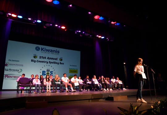 Kelsie Patterson, a student at Craig Middle School, starts the 21st Annual Big Country Spelling Bee on Saturday at Van Ellis Theatre on the campus of Hardin-Simmons University. The winner of this year's Bee is Sanay Salvi, from Wylie East Junior High School.