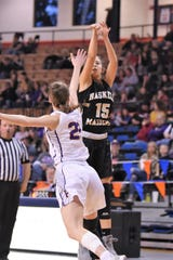 Haskell's Melody Martinez (15) takes a shot against No. 10 Panhandle in the Region I-2A tournament semifinals at South Plains College's Texan Dome. The No. 8 Maidens fell 47-24 on Friday, Feb. 28, 2020, to end their season.