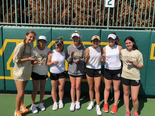 The Abilene High girls tennis team poses with their medals after winning the Emerald Division at the UTR National High School Team Tennis Championships in Waco. The Lady Eagles defeated Wylie 5-4 in Saturday's championship match. Pictured (L-R): Tia Pupella, Ruth Hill, Kaitlyn Strain, Addison Brewer, Cassie Hernandez, Katherine Morris and McKenna Bryan.