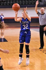 Stamford's Shandlee Mueller (32) takes a 3-pointer against No. 3 Gruver in the Region I-2A tournament semifinal at South Plains College's Texan Dome in Levelland on Friday, Feb. 28, 2020. The Lady Bulldogs fell 56-45 to end their season.