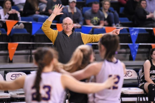 Haskell coach Michael Skelton calls out a play to his team against No. 10 Panhandle in the Region I-2A tournament semifinals at South Plains College's Texan Dome. The No. 8 Maidens fell 47-24 on Friday, Feb. 28, 2020, to end their season.
