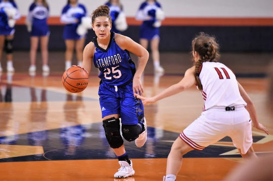 Stamford's Laylonna Applin (25) brings the ball down the court against No. 3 Gruver in the Region I-2A tournament semifinal at South Plains College's Texan Dome in Levelland on Friday, Feb. 28, 2020. The Lady Bulldogs fell 56-45 to end their season.