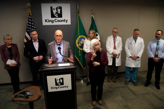Dr. Jeff Duchin, Health Officer, Public Health Seattle & King County, addresses a news conference, Saturday, Feb. 29, 2020, in Seattle.  A man in his 50s with underlying health conditions became the first coronavirus death on U.S. soil. The man had underlying health conditions and no history of travel or contact with a known COVID-19 case, health officials in Washington state said.