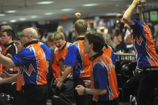 Galion celebrates after a strike in the semifinals of the knockout round against Coldwater in the state bowling tournament.